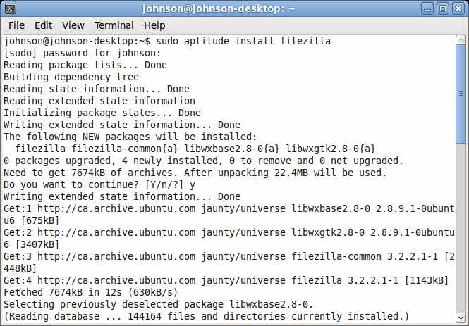 Terminal Command prompt for Filezilla client install.