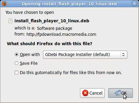 Pick Open with Gdebi Package installer(default)