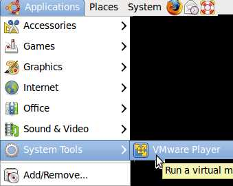 Application, System tools, VMware player