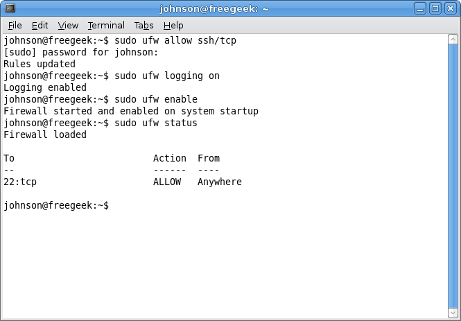 installing firewall in terminal prompt